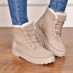 Ku 2016 Womens Girls Comfort Fur Lined Lace Up Winter Snow Ankle Boots Plus Size