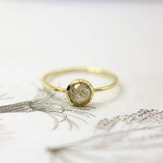 18ct gold, opaque diamond ring