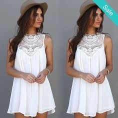 Boho Mini Beach Dress - Dress Length: Above Knee, MiniSleeve Style: SleevelessMaterial: Chiffon,LaceFabric Type: ChiffonXXS-0 XS-2 S--4  M-6  L-8-10  XL-10-12  XXL-12-14  - On Sale for $16.00 (was $24.00)