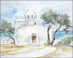 """""""Kapelle in Griechenland"""" - Aquarell / Watercolor - 23 x 30 cm - Original /// Prices from € 9 (Ebay auction) /// Postage and packing € 3 (Global shipping)"""