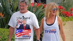 An image of actors Goldie Hawn and Kurt Russell wearing Donald Trump campaign…