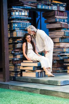 Melisa Pereyra (left) as Miranda and Henry Woronicz as Prospero in the Utah Shakespeare Festival's 2013 production of The Tempest. (Photo by Karl Hugh. Copyright Utah Shakespeare Festival 2013.)