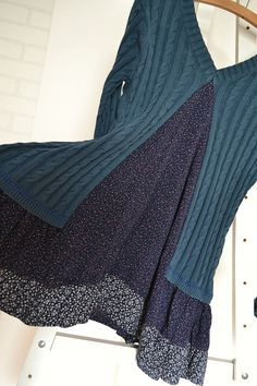 upcycled clothing cotton dress knitted dress blue by smArtville