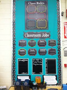 Rules and Jobs Board Chalkboard Classroom, Class Rules, Classroom Jobs, Style, Swag, Outfits