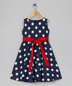This Blue Polka Dot Bow Dress - Toddler  Girls is perfect! #zulilyfinds