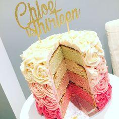 Teenager girls rose swirl birthday cake