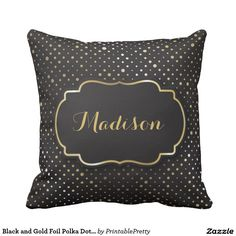 Black and Gold Foil Polka Dot Confetti Monogram
