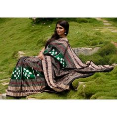 Buy Odisha Double Ikat Saree Green Black White Pasapalli | PC 21708