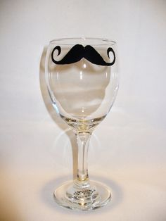 Hand painted wine glass with mustache Dali by ROCKYBCREATIONS, $7.00