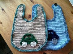 Crocheted Baby Boy Car Bib Set by HomespunByDesign on Etsy, $10.00