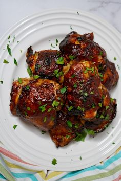 Make these yummy bbq chicken thighs for dinner tonight. We make this easy chicken recipe with a yummy seasoning and bbq sauce. It is so simple to make and will be a family dinner favorite in no time. Best Grill Recipes, Barbecue Recipes, Grilling Recipes, Lunch Recipes, Easy Dinner Recipes, Vegetarian Recipes, Easy Meals, Drink Recipes, Dinner Ideas