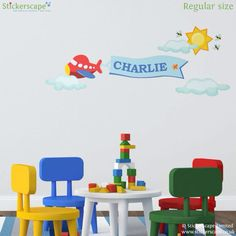 Personalised Plane Wall Sticker (Yellow) - Customise with a Name - Available in red or Yellow - Removable - Wall Decal - Wall Graphic - Wall Art