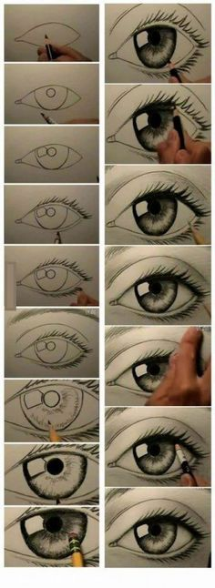 17 Diagrams That Will Help You Draw (Almost) Anything Last year i learned how to draw a realistic eye and i would like to learn how to do this as well. Drawing Techniques, Drawing Tips, Drawing Sketches, Painting & Drawing, Drawing Ideas, Eye Sketch, Drawing Faces, Human Eye Drawing, Drawing Pictures
