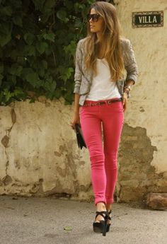 Pink jeans, and black heels, and addition to the gray sweater. the white blouse a bonus.