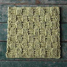 crochet dishcloth, picnic basket, knit dishcloth