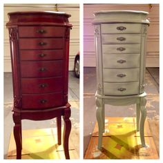 My chabby chic before and after. Only 4 1/2 hours to create this look with homemade chalk paint, steel wool for distress and wax coat! Love it!!!