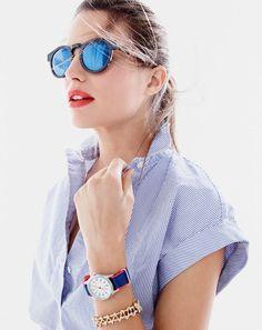 J.Crew women's short-sleeve popover shirt in stripe and Illesteva™ for J.Crew Leonard blue mirrored sunglasses.