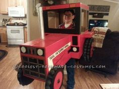 My son loves tractors! So it would only make sense to make his costume one! We gathered some moving boxes up and painted cut and drew what we could on...