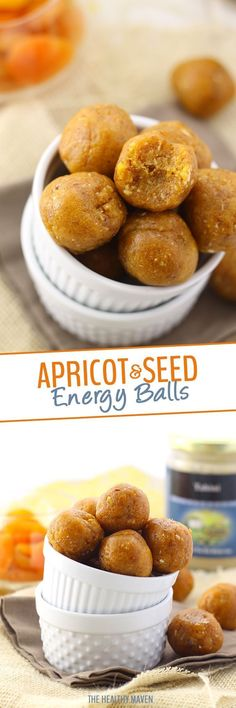Made with dried apricots, sunflower seeds and tahini paste, these Apricot and Seed Energy Balls will give you the power boost you need to stay active throughout your day. A perfect sweet and salty nut-free snack! From The Healthy Maven! Best Gluten Free Recipes, Low Carb Recipes, Sweet Recipes, Real Food Recipes, Baking Recipes, Snack Recipes, Yummy Food, Healthy Recipes, Yummy Eats