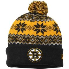 Mens Boston Bruins New Era Black Snowburst Cuffed Knit Hat with Pom my son needs to keep his lil head warm too!