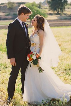Adorable photo of bride and groom