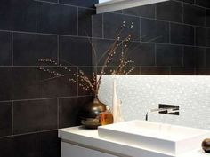 Tile Size: Tile Thickness: Colour: Nero Slate Application: Wetroom Floor No. Tiles Per Material: Natural Stone Manufacturer: Marshalls Black Slate Floor Tiles, Slate Flooring, Wall And Floor Tiles, Bathroom Wall Decor, Bathroom Layout, Bathroom Fixtures, Mirror Bathroom, Small Bathroom Colors, Bathroom Black