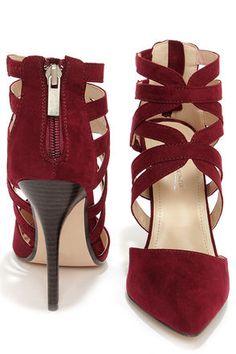 Cute Oxblood Heels - Caged Heels - Red Heels - $39.00