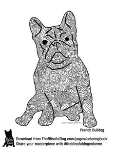 Realistic masterpiece coloring pages ~ Zentangle drawing of Lola the bulldog. Visit www.etsy.com ...