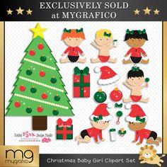 Christmas Baby Girl Clipart Set
