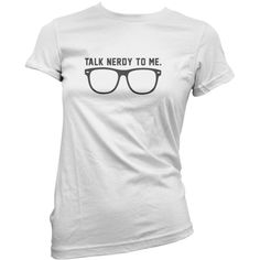 Talk Nerdy to Me Girls Womens Fashion Fitted Top Funny Glasses Nerd... (125 HKD) ❤ liked on Polyvore featuring tops, t-shirts, black, women's clothing, black top, black cotton top, black cotton shirt, black cotton t shirt and cotton t shirts