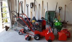 """Sears Craftsman 6.0 Easy Start quiet 22"""" mower/mulcher with bag and Briggs & Stratton motor; Snow King by Troy-Bilt 21"""" snow blower (model #42000); Craftsman 32 gas weed wacker (hard starting); Black & Decker hedge trimmer; Shop-Vac 5 gal contractor's vacuum with attachments; Scott's seed spreader; wheel barrow; 6' alum/magnesium step ladder (has broken paint tray); assort of planters-see separate photo; (2) snow shovels; (2) rakes; post hole digger; watering cans; gas cans."""