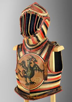 Iron Helmet and Breast and Back Plate used in the Gioco del Ponte of 1807 Peabody Essex Museum Elmo, Medieval Helmets, Battle Dress, Helmet Head, Armor Clothing, Mask Painting, Mode Costume, Armadura Medieval, Arm Armor