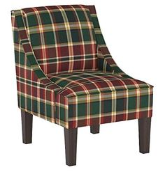 Latitude Run Thon Swoop Armchair Upholstery Colour: Emerson Heritage Plaid Chair, Lodge Look, Patterned Armchair, Chair Types, Chair Backs, Quality Furniture, Upholstered Chairs, Side Chairs, Seat Cushions