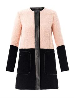 Drome takes a bold approach to outerwear with this pink and black bi-colour shearling coat. Finished with leather trims and a featuring a concealed front fastening, this sophisticated cover-up is perfect for day or evening.