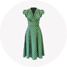 A traditional 40s tea dress that is flattering and feminine. It is a joy to wear everyday or dressed up with accessories for special occasions. Add a 40s red li