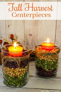 Easy Fall Table Centerpieces look great for a fall decoration or beautiful Harvest Centerpiece for Thanksgiving dinner. Make a DIY Fall Centerpiece in minutes, Fall Table Decor Ideas for a lovely Fall Candle Centerpiece Ideas Fall Candle Centerpieces, Thanksgiving Centerpieces, Fall Candles, Centerpiece Ideas, Candle Decorations, Harvest Table Decorations, Beeswax Candles, Christmas Candles, Christmas Christmas