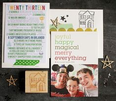 love this 'year in review' holiday card + the house sketch stamp is an awesome idea!