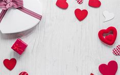 Download wallpapers valentines day, white heart, gifts, romance, red hearts, February 14