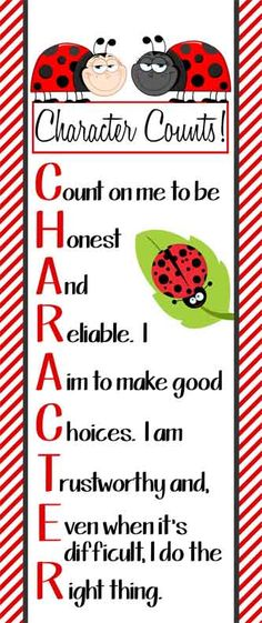 LADY BUG Theme Classroom Decor/ Character Education Banner / Large / Character Counts / JPEG / Vistaprint.com / ARTrageous FUN