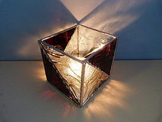 Elegant Stained Glass Candle Holder Brown and Clear by miloglass, $30.00