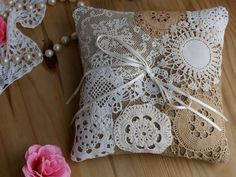 Doily covered pillow