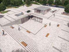 Project of a public square in Stalowa Wola, Poland Concept Models Architecture, Public Architecture, Concept Architecture, School Architecture, Architecture Details, Landscape Architecture, Urban Landscape, Landscape Design, Public Space Design