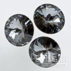 Eureka Crystal Beads - 1122 10mm (47ss) Rivoli CRYSTAL SILVER NIGHT Swarovski Crystal Stones (4 pcs), $2.85 (http://www.eurekacrystalbeads.com/1122-10mm-47ss-rivoli-crystal-silver-night/)