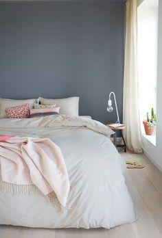Wandfarbe Schlafzimmer Hirschgeweih-Deko-Kronleuchter-Holz-Blau ...
