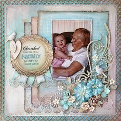 Cherished Memories Scrapbook Layout scrapbooking #page#layout.  Like the 3 mats idea and they all have a punched edge at the bottom.
