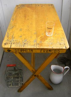 Antique French Cafe Table - beautiful aged wood, with working folding legs and stenciled advertisement on sides 'Francois Sermijn'