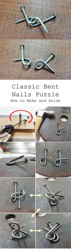 The apparent simplicity of this puzzle is what makes it so great, and the solution is far more elusive than it seems. Diy Crafts And Hobbies, Easy Diy Crafts, Horseshoe Projects, Metal Projects, Fun Projects For Kids, Crafts For Kids, Project Ideas, Mind Puzzles, Metal Puzzles