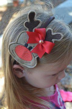 Ribbon Hair Clips, Diy Hair Bows, Diy Bow, Toddler Christmas Gifts, Christmas Hair, Christmas Crafts, Reindeer Christmas, Reindeer Headband, Diy Hair Accessories