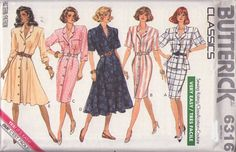 MOMSPatterns Vintage Sewing Patterns - Butterick 6316 Vintage 80's Sewing Pattern FAB Chic Classics Very Easy Front Buttoned Coat Dress, Garden Party or Work, Peplum Jacket Top & Skirt Size 12-16