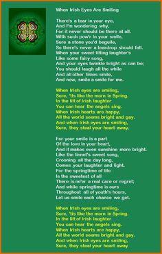 When Irish Eyes are Smiling Lyrics. My mom would repeat the chorus on every st. Smile Lyrics, Great Song Lyrics, Irish Songs, Irish Song Lyrics, Irish American, American Girl, American Women, American Indians, Places